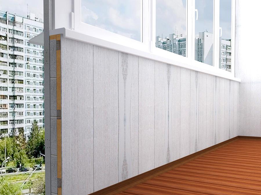 Отделка балкона ХДФ панелями