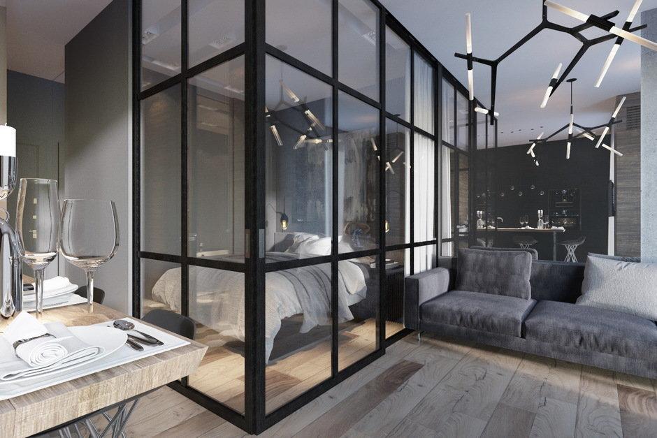 Алюминиевая перегородка для спальни